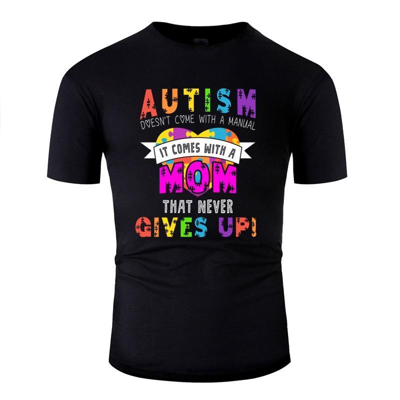 Отпечатано информации о проблеме аутизма Аутизм мама моды T-Shirt Комиксы Футболки Круглый шеи Одежда Плюс Размер S-5XL Tee Вверх