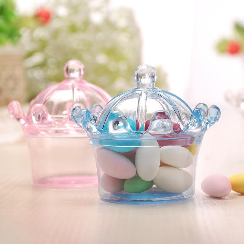 24pcs пластиковые императорская корона формы конфет Box Baby Shower Kids Birthday Party Gift Box Пластиковые рождественские товары для вечеринок
