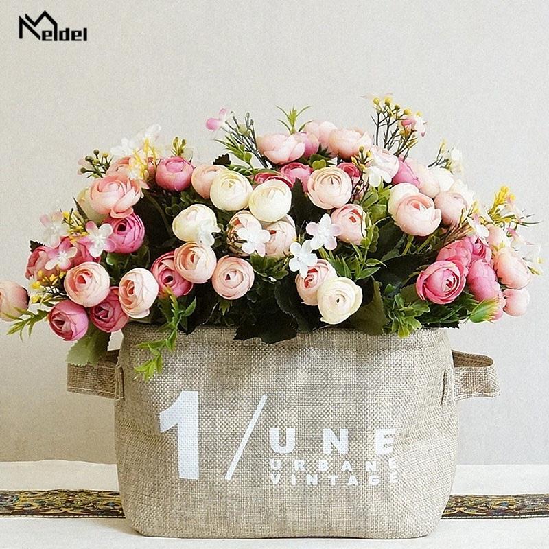 Искусственные цветы 13 глав 1 Bundle White Rose Bouquet Полиэстер Шелковые Розы Розовый Свадебные украшения дома Поддельные растения цветок sfBF #
