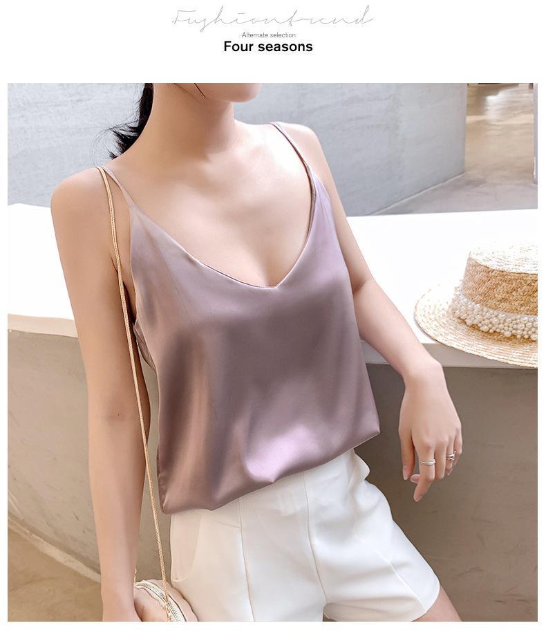 2020 новый шелковый innercamisole женский летний износ V-образный вырез сплошной цвет внутренний сексуальный дна рубашки верхних женщин