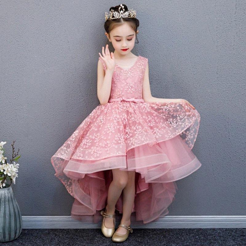 Girl Wedding Party Flower Girl Bridesmaid Embroidery Tail Dress Princess Birthday Host Walking Piano Performance Dress BJzo#
