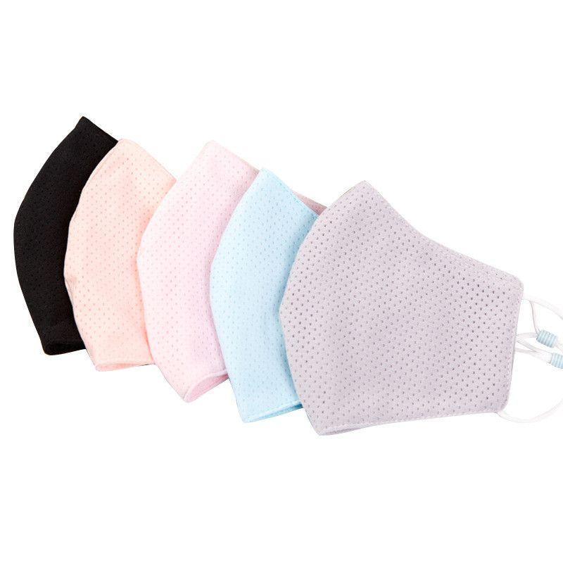 Summe Damen-Gesichtsmaske Eis-Seide-Antistaub-UV-beständig Gesichtsmasken Frauen waschbare atmungsaktive Schutzmundmaske Outdoor Sport Masken