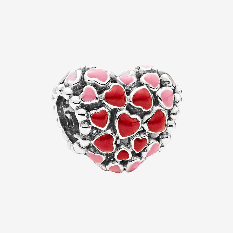 정통 925 스털링 실버 팔찌 매력 여성 쥬얼리 Pandora에 대한 원래 상자로 액세서리 만들기 레드와 핑크 하트 매력
