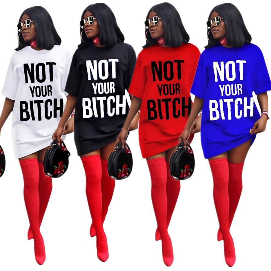2020 neue Frauen Rundhalsausschnitt Kurzarm Brief drucken T-Shirt Kleider Fashion Party Minikleid der beiläufigen Frauen Hemd