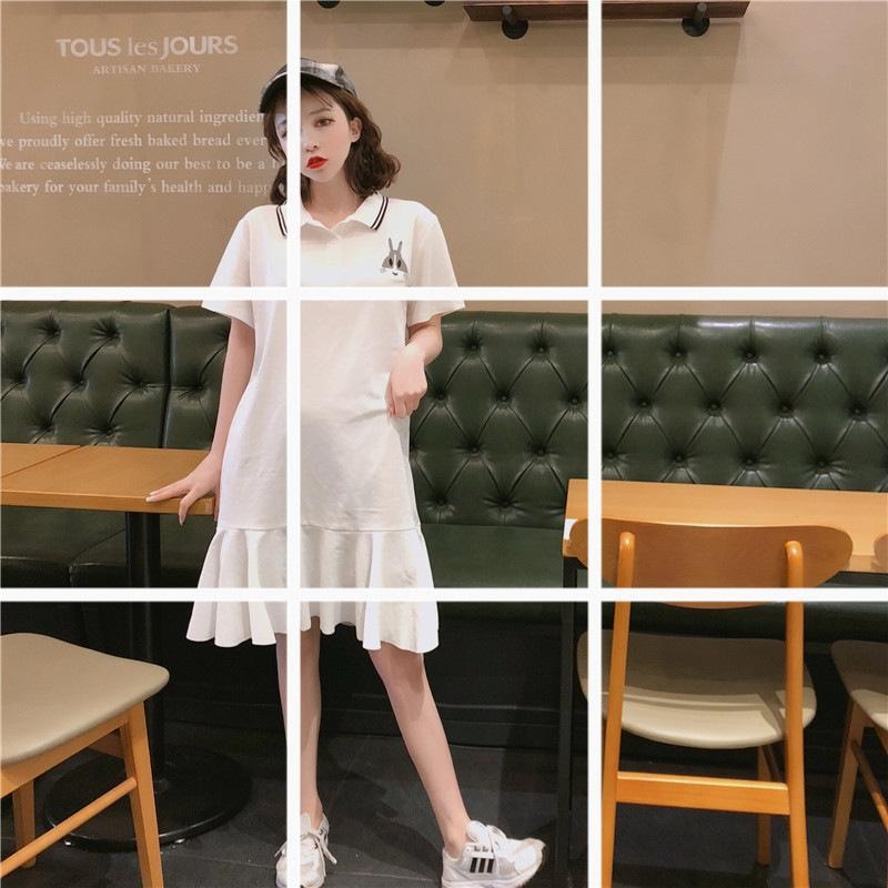 2020bf paresseux Polo robe t-shirt lapin col décontracté polyvalent mi-longueur T-shirt imprimé lotus tendance robe feuille