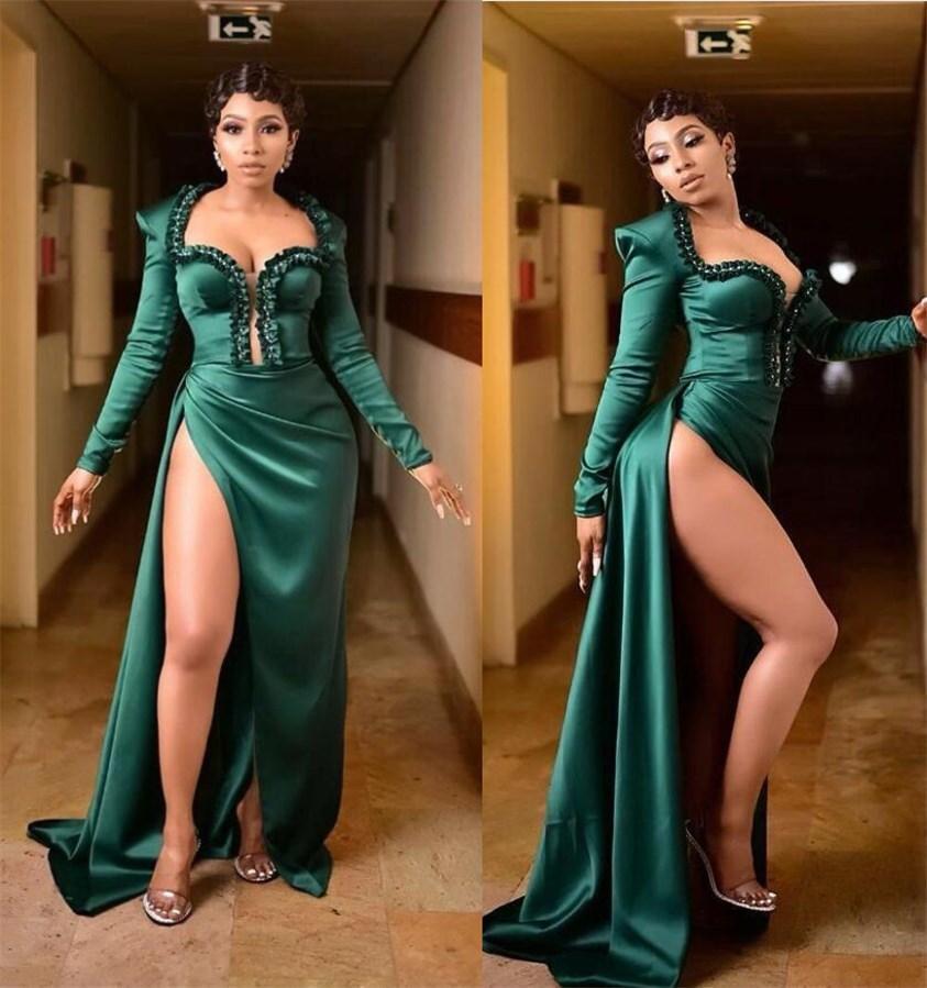 Sexy 2021 Hunter Green Вечерние платья Высокие Сплит-Оболочка Выпускные Платья Длинные Рукавезы Формальная партия Вторые Приемные платья