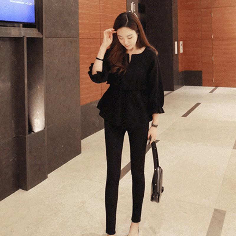 2020 Cap Sleeve пружинные модели корейской версии Семь точек рукава хлопок и белье Круглый шеи галстук рубашка Женский Раффлед рубашка