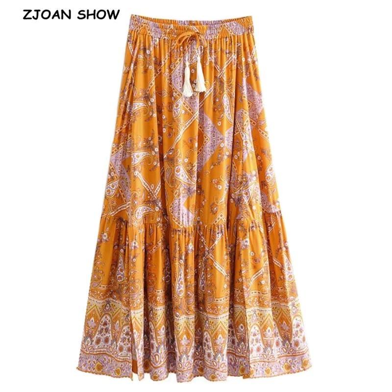 2020 Bohemian laranja Floral Imprimir saia longa BOHO férias Mulheres costura plissado Lacing-se saias de comprimento Fluxo cintura Andar