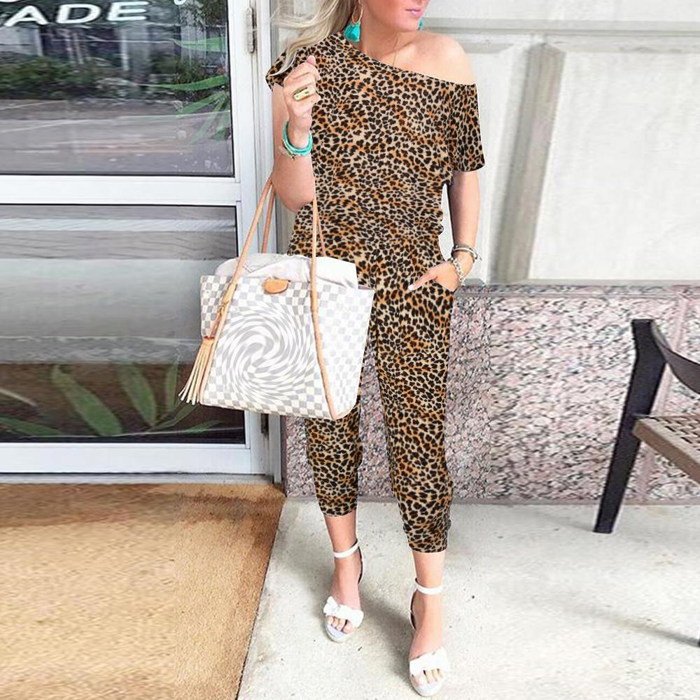 Mulheres Moda Off Empurrado Leopard Macacão de alta rua Summer manga curta longa Jumpsuit Casual D30 Impresso Romper macacões
