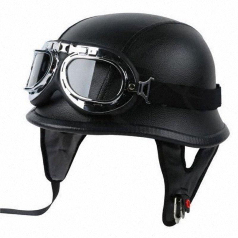 DOT Deutschland PU-Leder Weinlese-Motorrad-Sturzhelm-Motorrad-Halb Helme Zweiten Weltkrieg mit der Fliegerbrille FM MQRO #