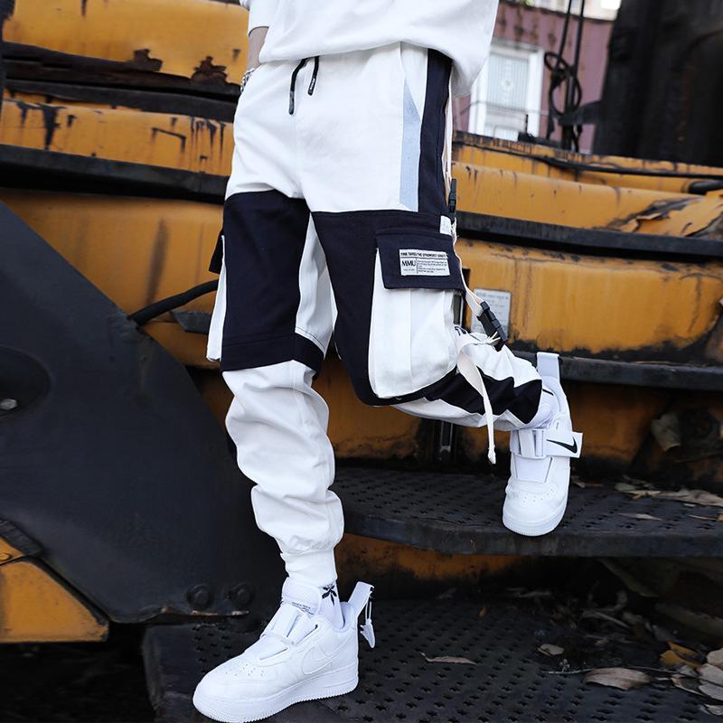 NEEDBO Мульти карманный штанах Мужчины Брюки Тренировочные штаны Joggers Streetwear Hip Hop Casual Male Harajuku Мужчины Pant Летняя мода