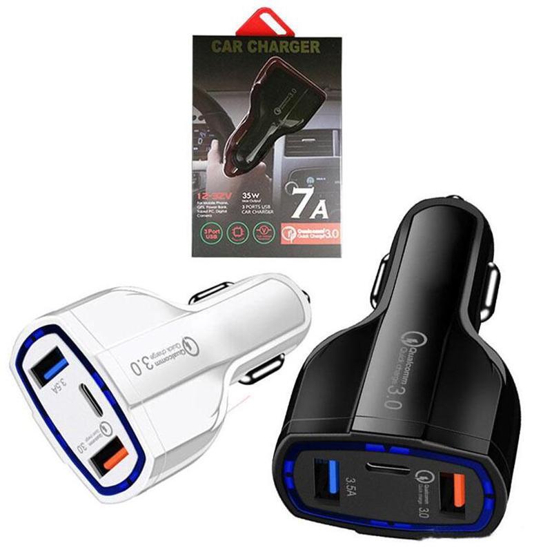 35W 7A 3 portas Car Charger Tipo C e USB Charger QC 3.0 Com Qualcomm Quick Charge 3.0 de carregamento rápido com pacote de varejo Para Power Bank