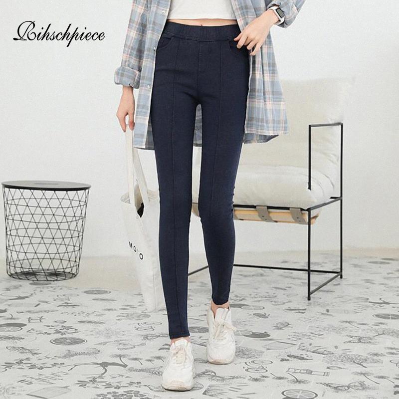 Rihschpiece Leggings Printemps Taille Plus 6XL Denim femme Pantalons Jeans taille haute Punk jeggings Pantalons Pocket Slim Casual RZF1725 Gaju #