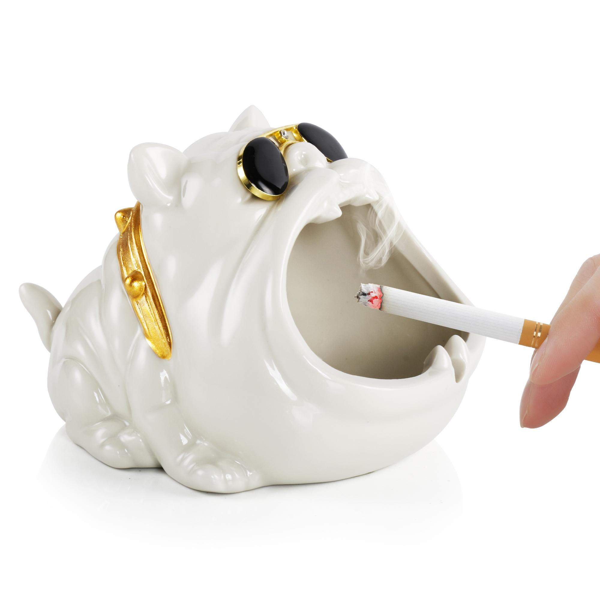 Reanice Unito de tabaco Cenicero fresco Cerámica Cerámica de ceniza Barra de ceniza Decoración para el hogar Cigarettes al aire libre Novedad Cenicero Cenicero blanco Bully Dog Moda