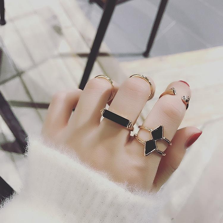 Cinque pezzi Freccia Giapponese Coreano Set personalizzato e Anello Cinque pezzi Set Index Anello di barretta Guan coreano semplice anello femminile