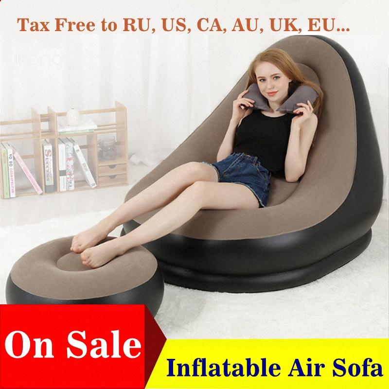 Inflatable Furniture Chair Sofa Lounger With Ottoman Foot Stool Rest Single Couch Beanbag Living Room Outdoor Air Lounge Chairs 2U2q#