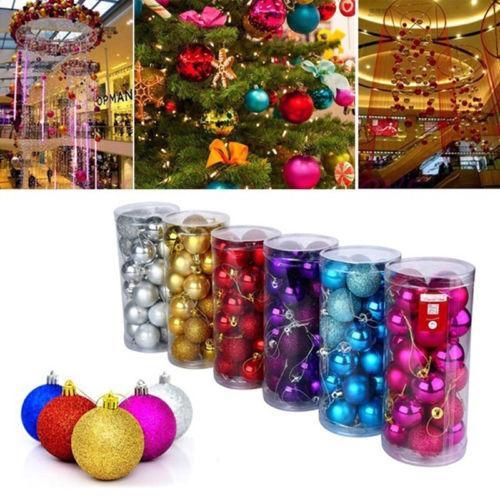 24Pcs Noel ağacı Noel Toplar Dekorasyon Baubles Parti Düğün Süsleme Pretty
