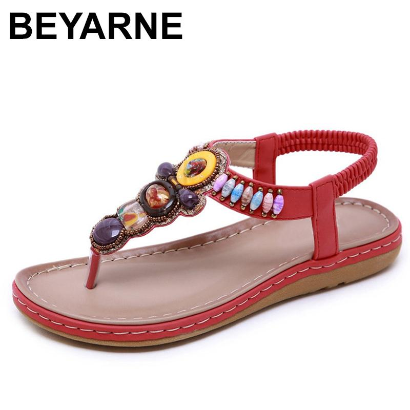 BEYARNE Summer new women's flat sandals shoes woman boho Bohemia beach sandals ethnic string strap amber size 35-42E593