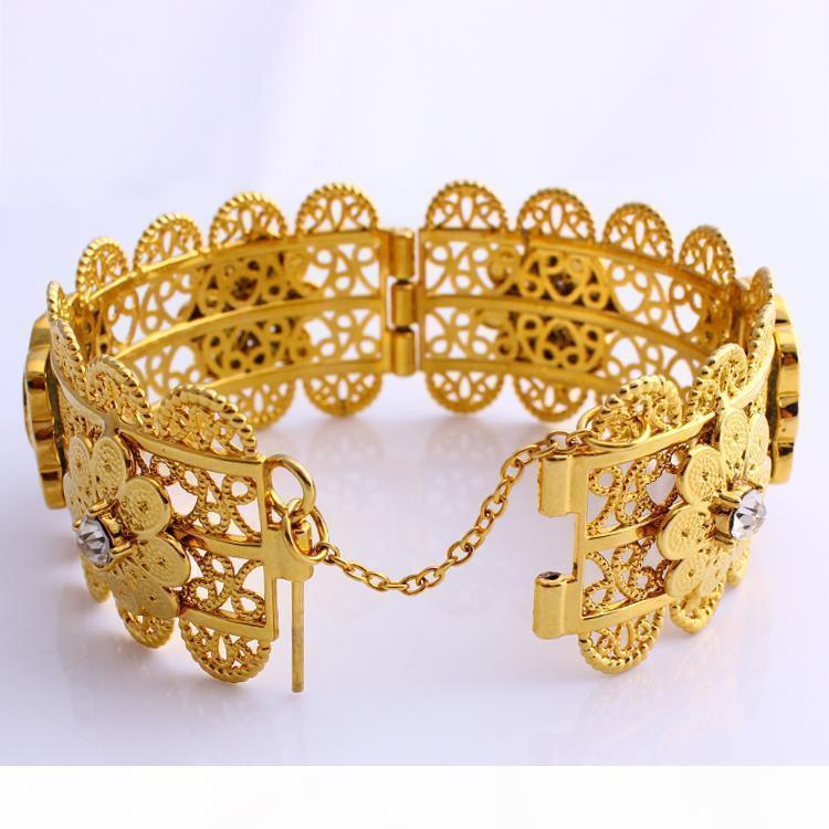 New Luxury donne Big braccialetto largo CARVE Baht tailandese testa ritratto moneta 22 K Belle solido monili dell'oro GF Dubai Aperto Braccialetti con CZ Knit fiore
