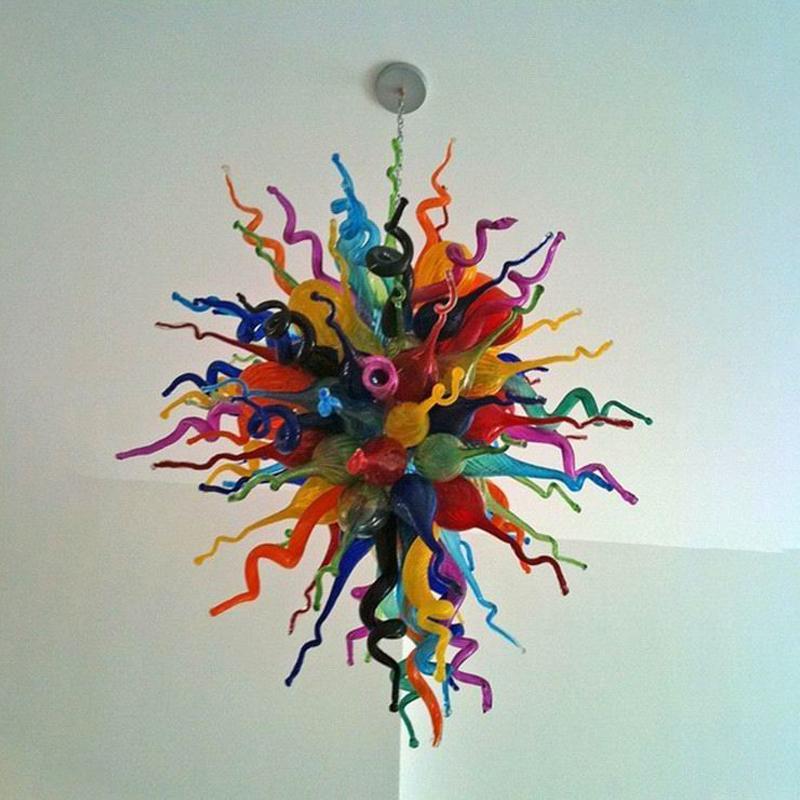 현대 조명 화려한 펜던트 조명 무라노 여러 가지 빛깔의 E14 LED 유리 샹들리에 조명 아트 데코 거실 룸 가구 식사 풍선