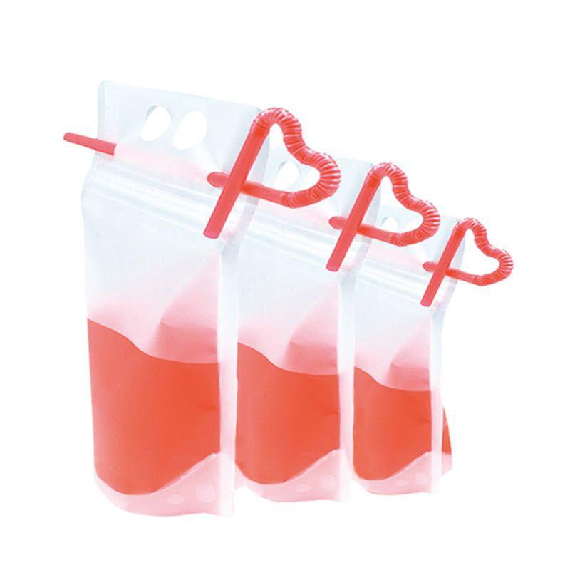 Fedex / DHL Boisson Sacs givré Zipper Pochettes Stand-up Sac Boire en plastique avec de la paille avec porte refermable résistant à la chaleur 17 oz