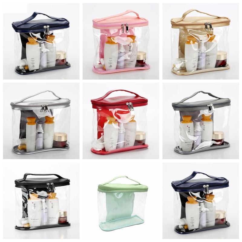 Transparentes sacos de PVC Viagem Organizador Limpar Makeup Bag Esteticista Cosmetic Bag Beauty caso de Higiene Pessoal Bolsa Make Up Pouch Wash Bolsas