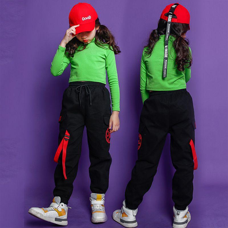 أزياء الأطفال الجاز الرقص زي للبنات الهيب هوب الشارع الرقص ازياء المحاصيل الأعلى السراويل الاطفال أداء الرقص الملابس