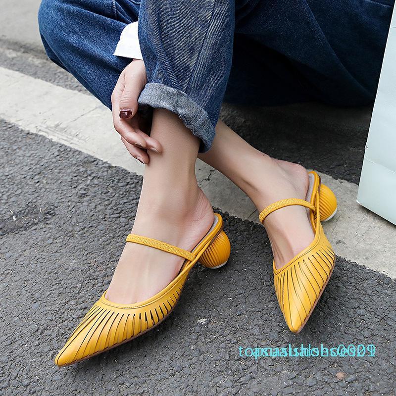 Stylesowner 2019 scava fuori eleganti scarpe pistone della donna a punta Strap bocca superficiale scarpe di moda Bianco Giallo Scontornabile scarpe T01