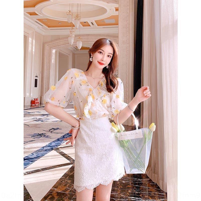 L'été des femmes 2020 printemps et en automne Nouvelle fée robe blanche maille haute ligne A de la taille de la ligne française A- jupe courte jupe