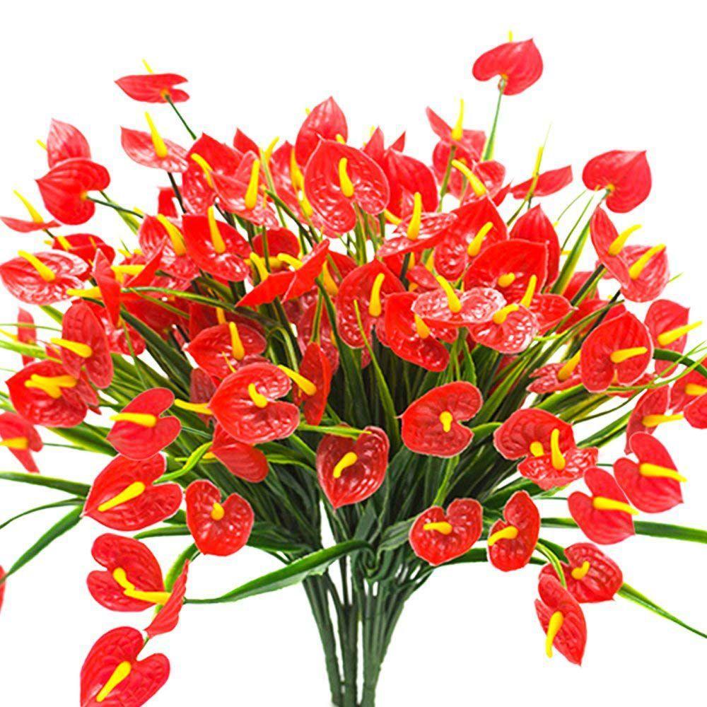 Saksı Ana Ara Asma 4 Bunches Yapay Sahte Çiçek Sahte Antoryum Bitkiler Plastik Çalılar Burçlar Yeşillik Kapalı Dışında