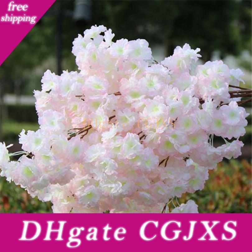 Eco-Friendly Artificial flor de cerejeira ramo Falso Sakura Flower Stem mais cabeças de flor 12 cores para o casamento Sakura Árvore Decoração