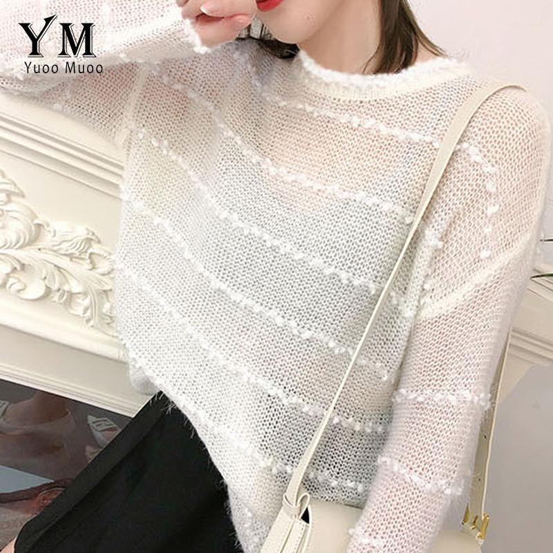 YuooMuoo Свитера Женщины 2020 Новая мода начале осени прозрачный пуловер свитер Корейский длинным рукавом белый пуловер Tops Femme