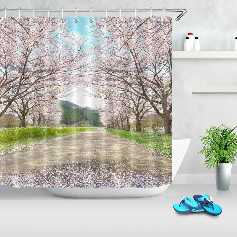 Spring Scenery Cherry Blossom Road Shower Curtain & Hooks Bathroom Accessory Set