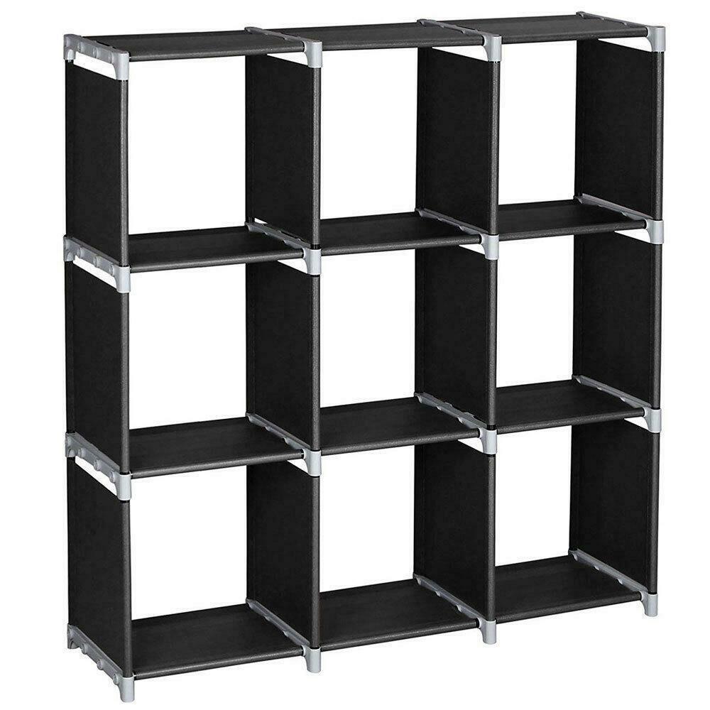3 طبقة التخزين مكعب حجرة منظم الجرف 9 مكعب مجلس الوزراء خزانة التخزين الأسود
