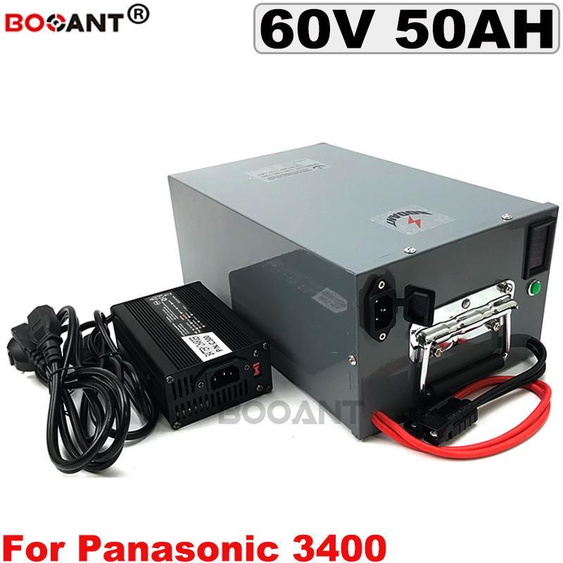 Potente eléctrica de la batería de litio de la bicicleta 60V 50AH 5000W para Panasonic NCR18650B 60v celular E-bicicleta Li-ion + una caja de metal