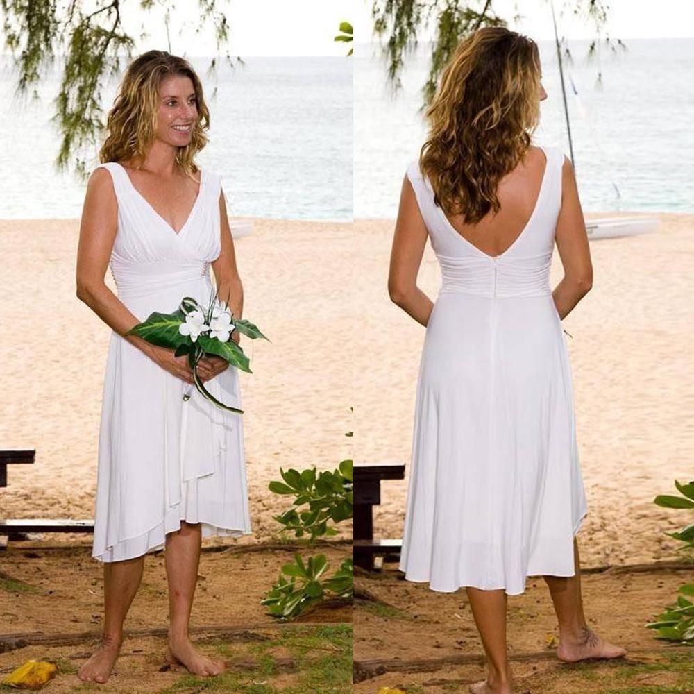 Verão vestido de casamento da praia V Neck Robe De Soirée De Mariage Tea Duração Curto noiva Partido 2020 Vestidos De Fiesta