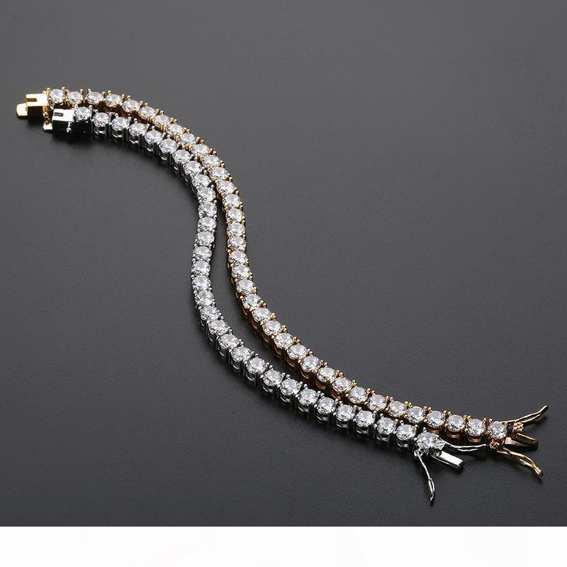 Роскошный дизайнер ювелирных изделий мужские браслеты Iced Out Цепи Алмазный Теннис Браслет Hip Hop Jewelry Мужчины 18k позолоченный браслет For Love Li