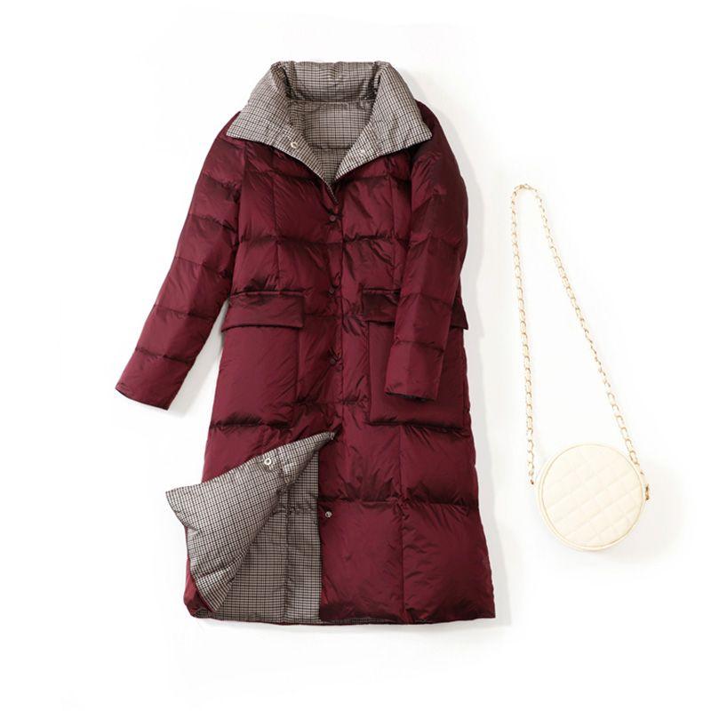 2020 New Women Double Sided Long Down Parka Winter Turtleneck White Duck Down Jacket Warm Female Puffer Jacket Snow Outwear