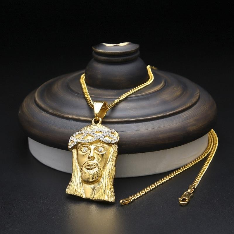 Erkek Hip Hop Takı Paslanmaz Çelik İSA Piece kolye kolye ile 60cm Altın Küba Zinciri