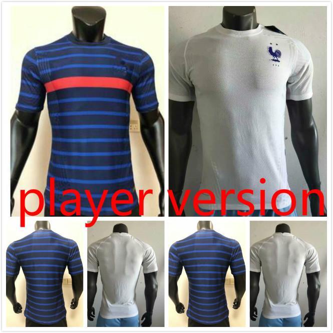 Jogador versão 2020 França Jersey Home Away Mbappe 20 21 Griezmann Soccer Jerseys Pogba Camisas de futebol Pavard Kante Maillot de pé