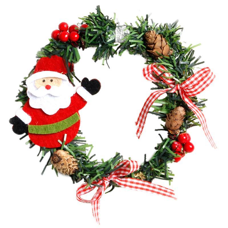 2Pcs ПВХ Рождественские венки Гирлянды Новогодние украшения для Home Pine снеговика Санта-Клауса двери Декор украшения