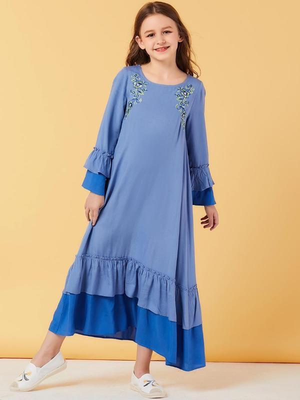 Ethnische kleidung schweiß muslim mädchen kleid rüschen marokkanische kleider kinder kinder kimono islamisch dubai a-line vestido kaftan abaya elbise
