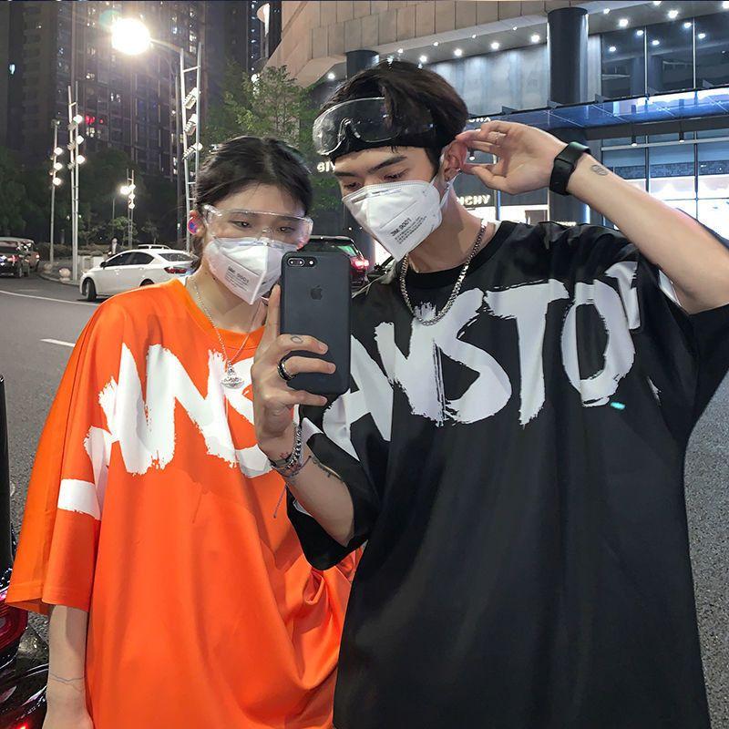 Estate stampata delle donne coreane Lettera Printe moda uomo estate Hip Hop Hip Hop Streetwear Kpop Nero Arancione Studenti Camicia di T