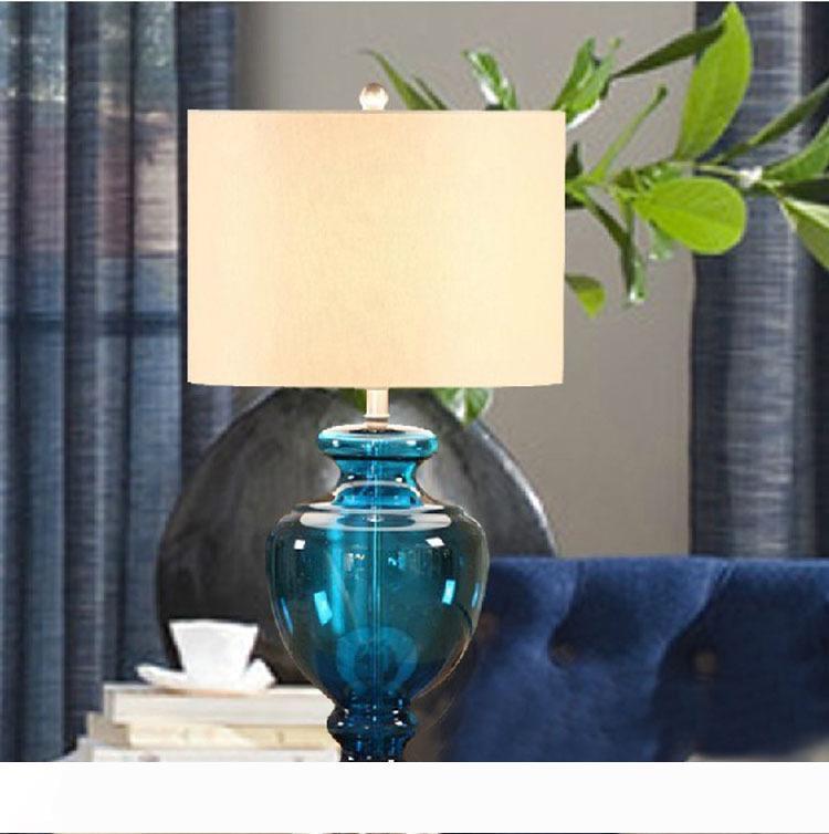 tavolo di vetro blu americano lampade studio camera da letto comodino hotel scrivania lampada da soggiorno Tavolo decorativo LR008 luce