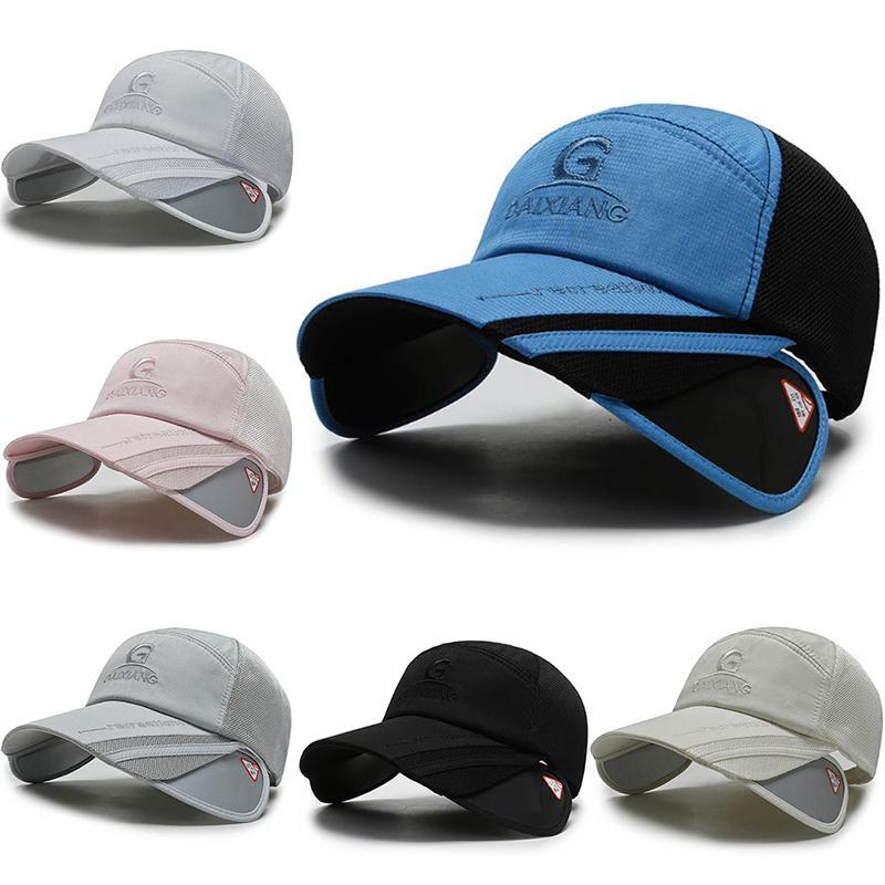 Pesca Sombrero de sol para los hombres verano Gorra de béisbol femenino retráctiles visera de protección sombreros de la pesca del casquillo