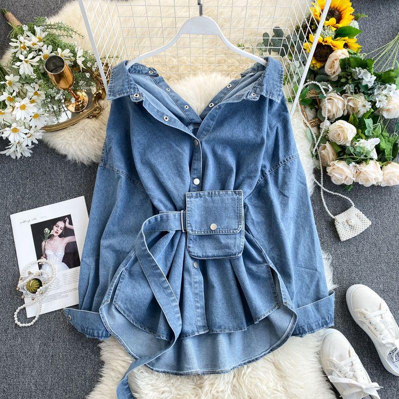 2020 Женская мода весна осень Джинсовая Блузы пальто Turn Down Button Воротник Sexy Дизайн Пояса джинсовой рубашки Пальто женщин Топы Blusas