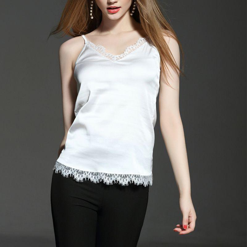2020 New Summer Sexy Black Lace Camis Crop Tops Women Imitation Silk Basic Vest Running Yoga Vest V-neck Camisole Tops Plus Size