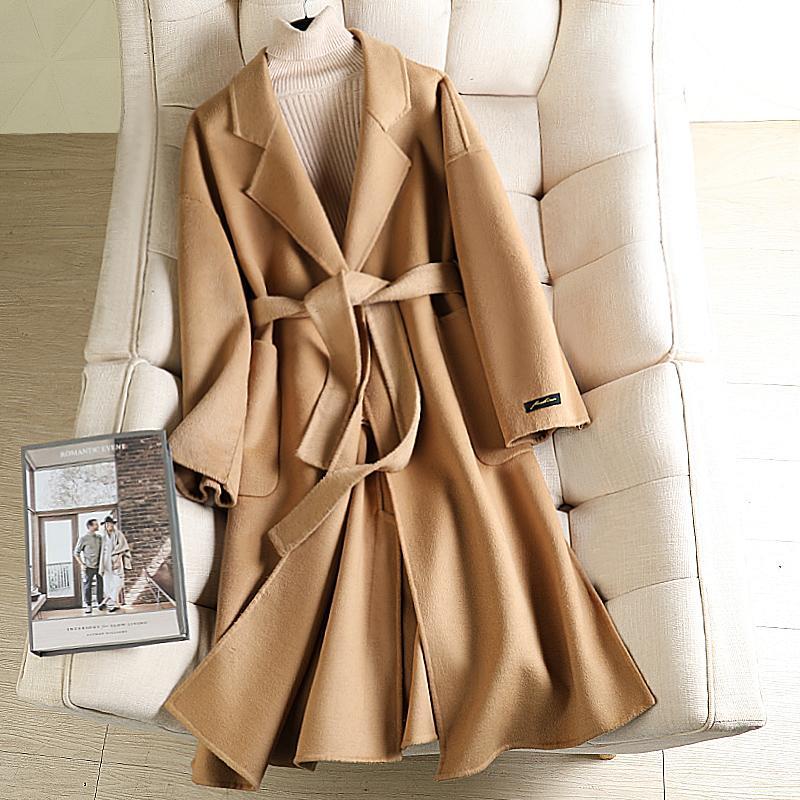 Abrigo de lana coreano largo para las mujeres 2020 Abrigo de color sólido de alta calidad Abrigos largos de invierno de otoño con cinturón