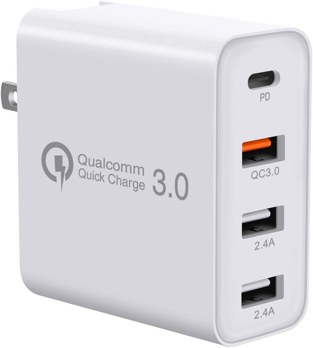 USB C 충전기, 빠른 급속 충전 3.0 PD 벽 충전기를 충전 48W 4 포트, 삼성 아이폰 멀티 포트 USB-C 여행 어댑터