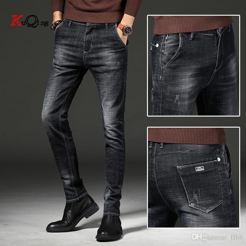 KUQING jeans neri e blu uomini moda slim fit 2019 nuovo stile tratto e jeans gamba dritta pantaloni